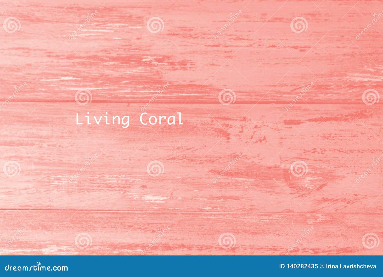 Plankenbeschaffenheit der hölzernen Tabelle gemalt in lebender korallenroter Farbe des Jahres Modischer Pastell farbiger Hintergr