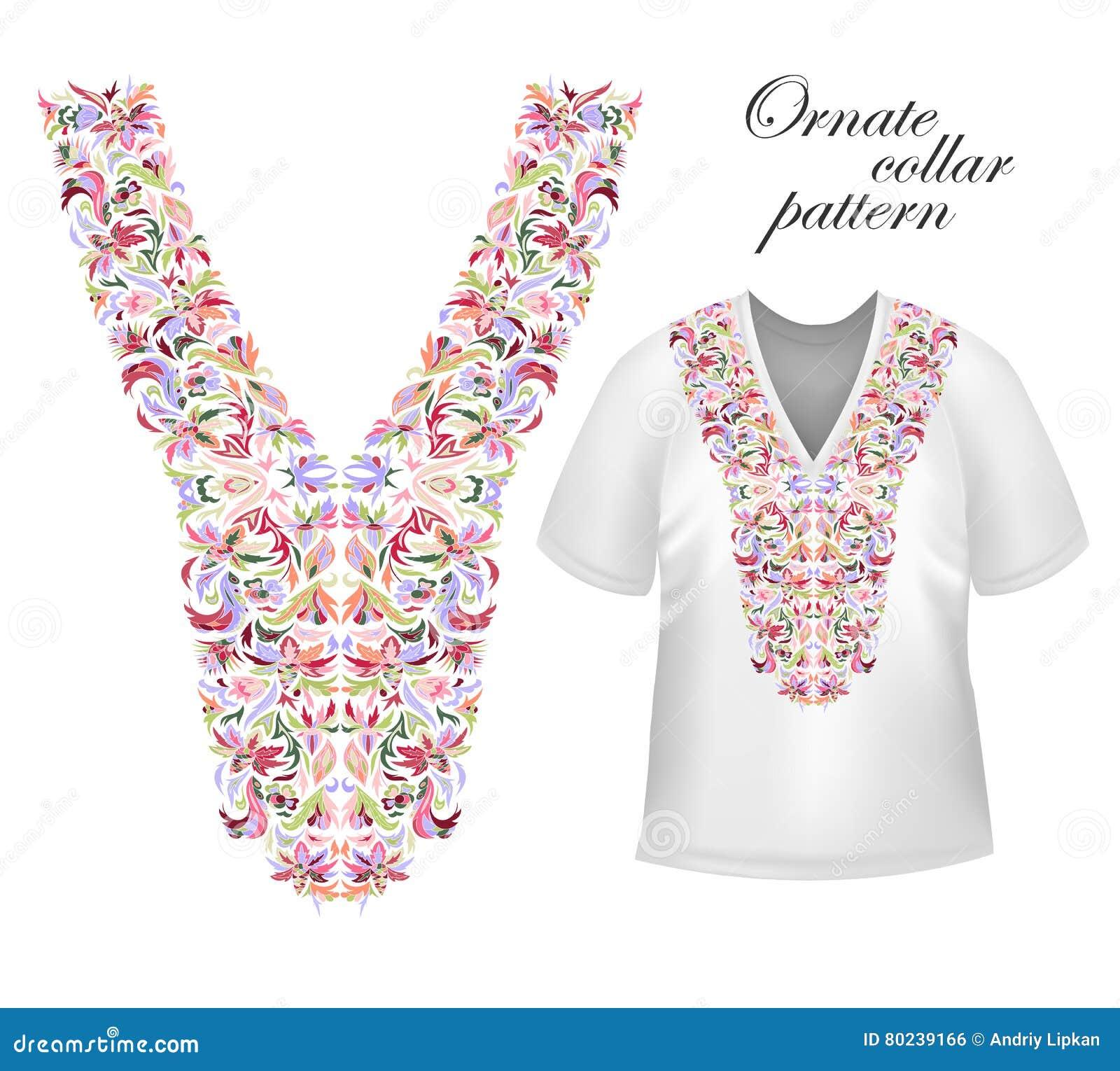 Planlägg för krageskjortor, skjortor, blusar, T-tröja Svart och etnisk blommahals för guld- färger Dekorativa Paisley
