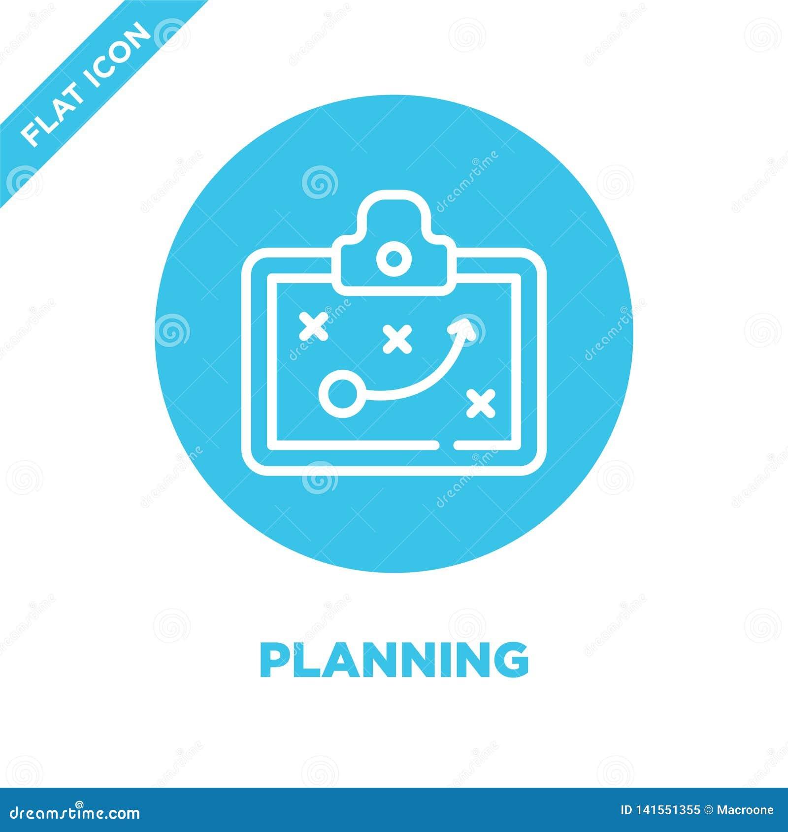 Planläggningssymbolsvektor Tunn linje illustration för vektor för planläggningsöversiktssymbol planera symbolet för bruk på rengö