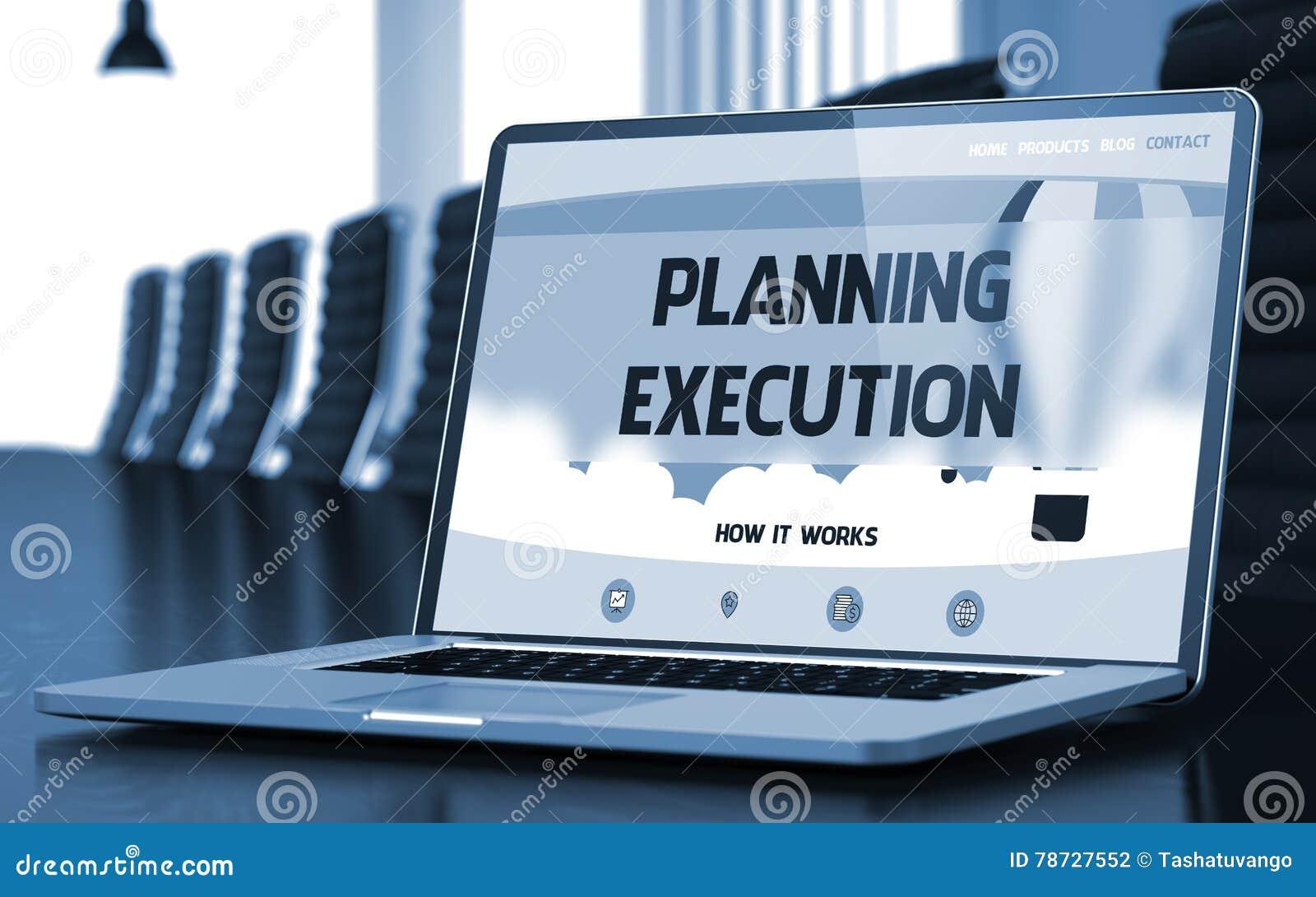 Planläggningsutförandebegrepp på bärbar datorskärmen 3d