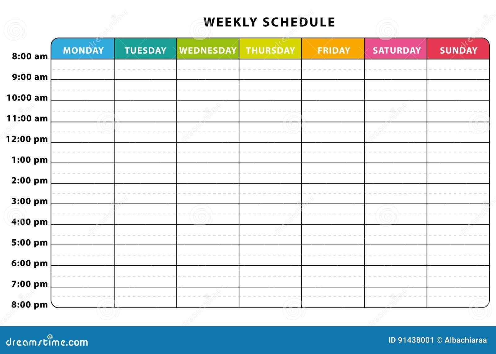 planlagd weeklyen vektor illustrationer  illustration av planner