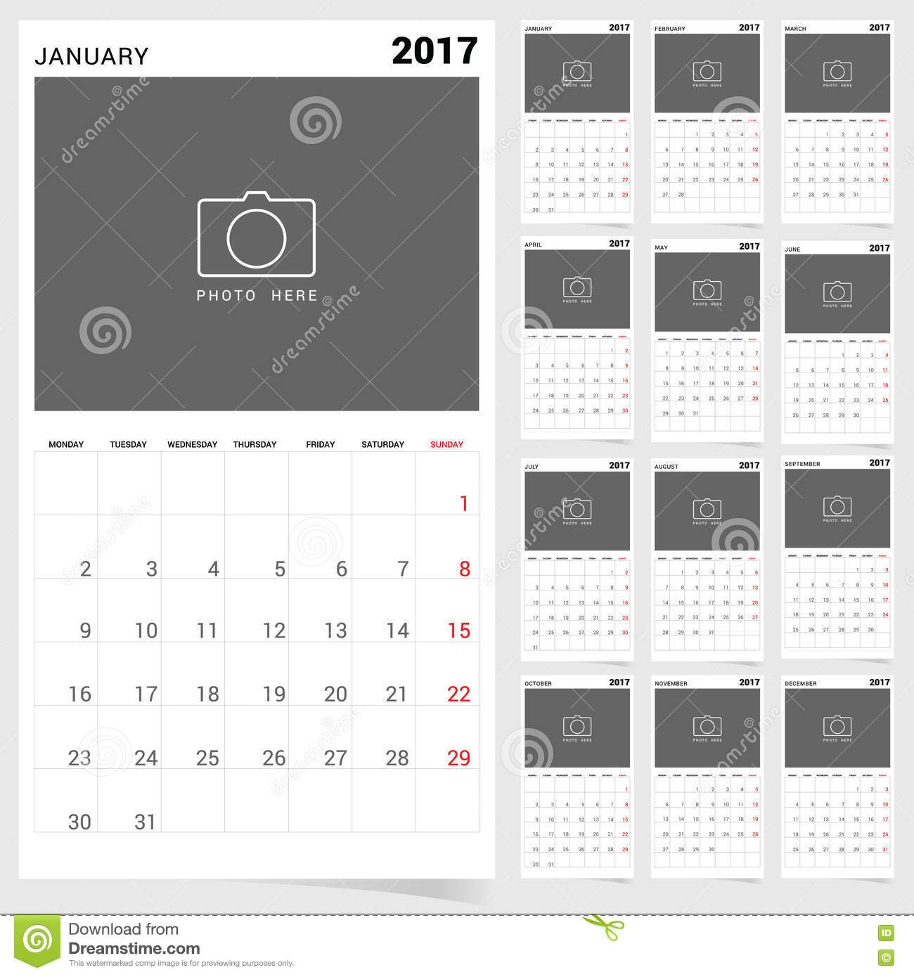 Planner calendar january 2017 design illustration stock for Time design planner