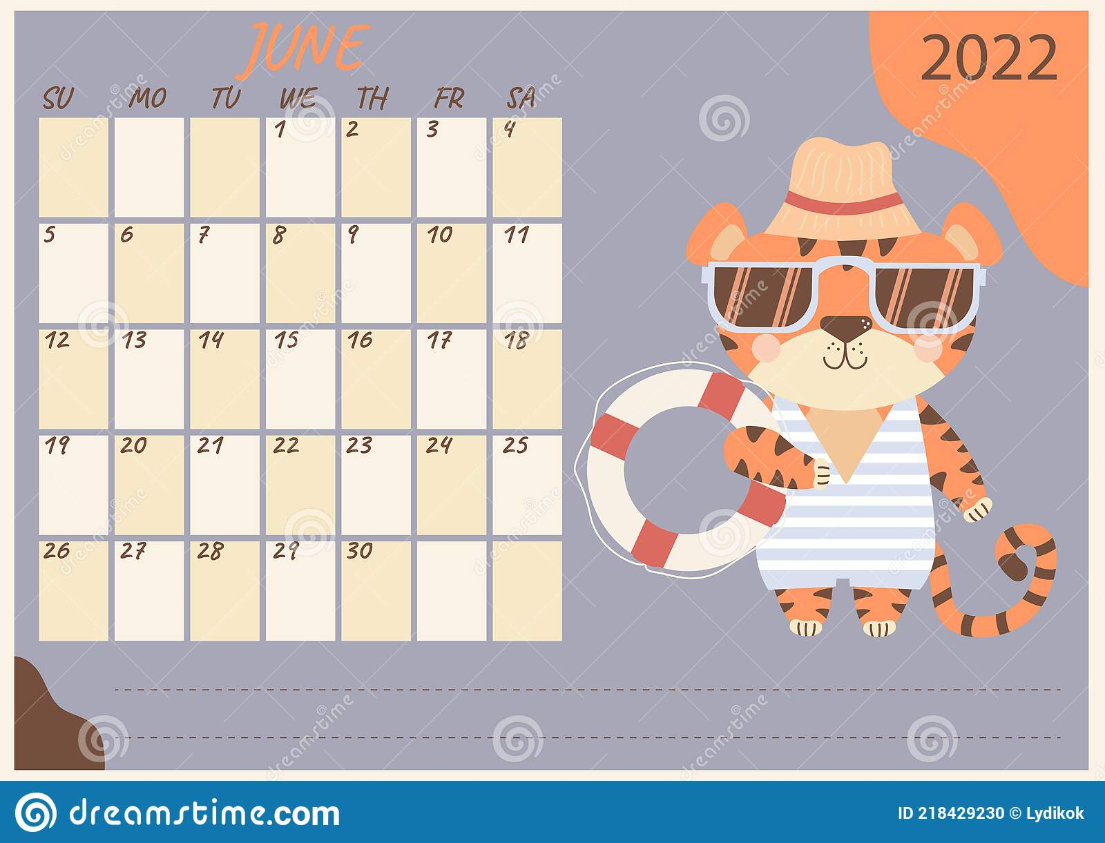 June 2022 Calendar Cute.Planner Calendar For June 2022 Cute Tiger Cub In Sunglasses Striped Swimsuit Beach Hat And Lifebuoy Year Of The Stock Vector Illustration Of 2022 Poster 218429230