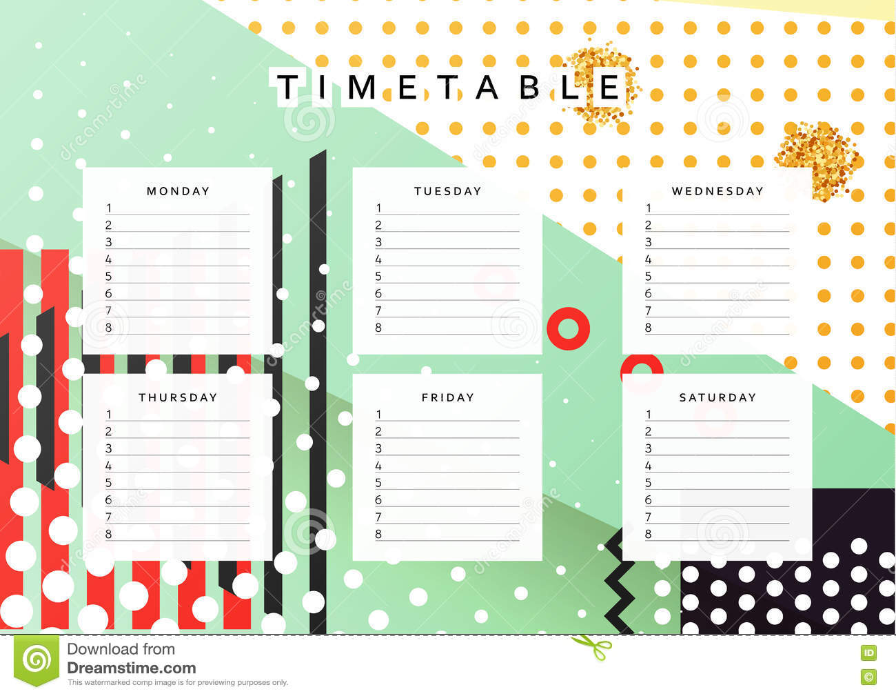 Planner calendar schedule the week abstract design for Planner design