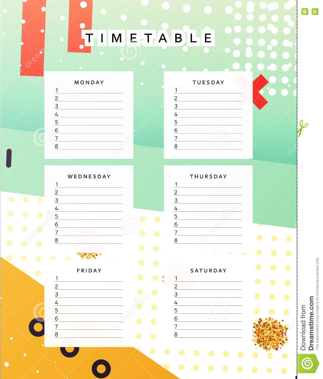 Planner Calendar Schedule The Week Abstract Design