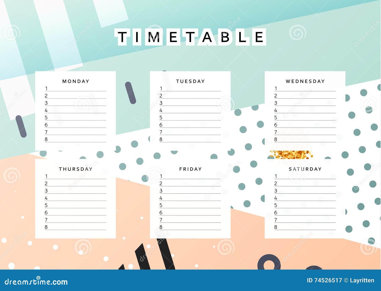 Planner Calendar Schedule The Week Abstract Design Background Stock Vector Image 74526517