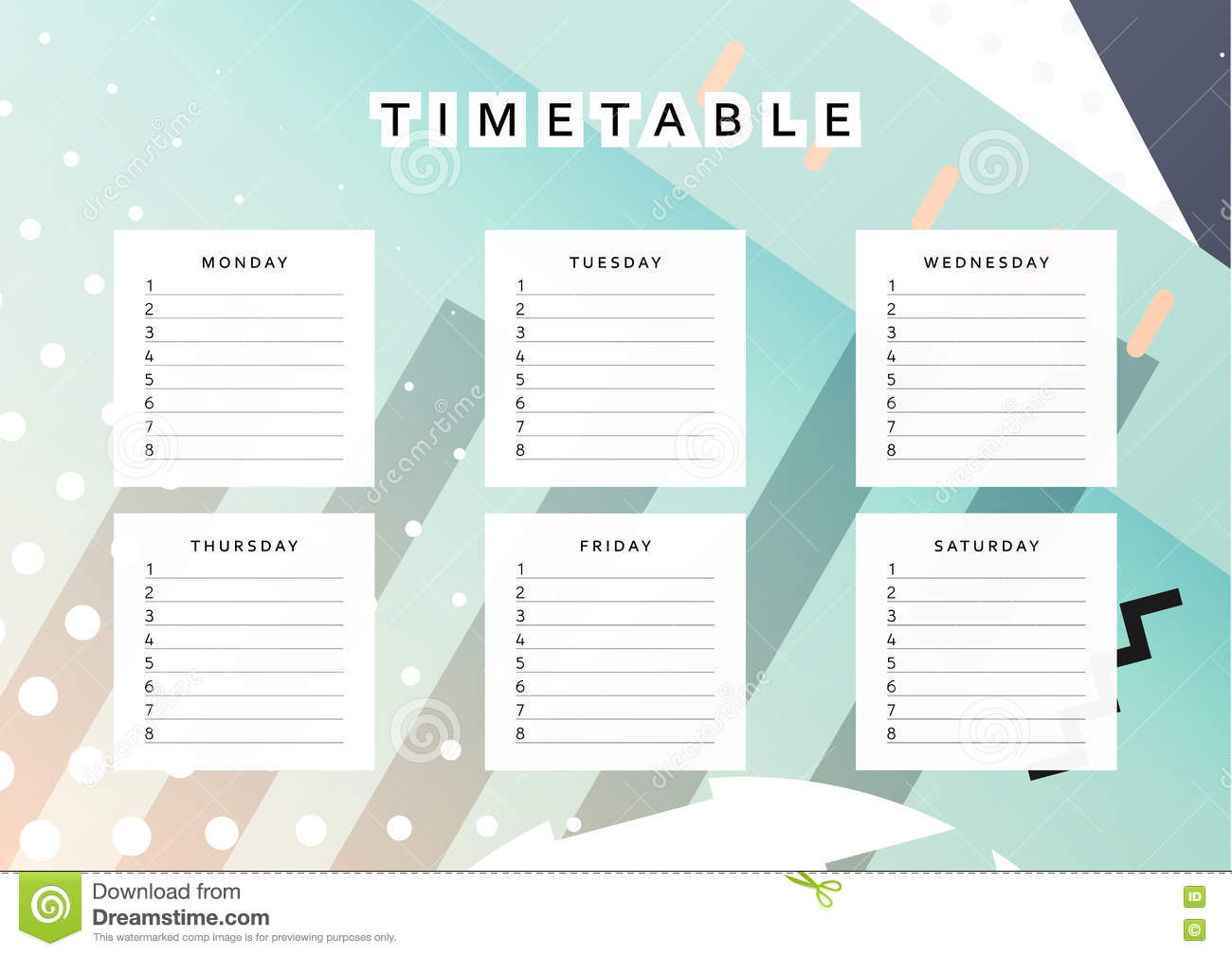 Sunday calendar schedule blank page royalty free stock for Time design planner