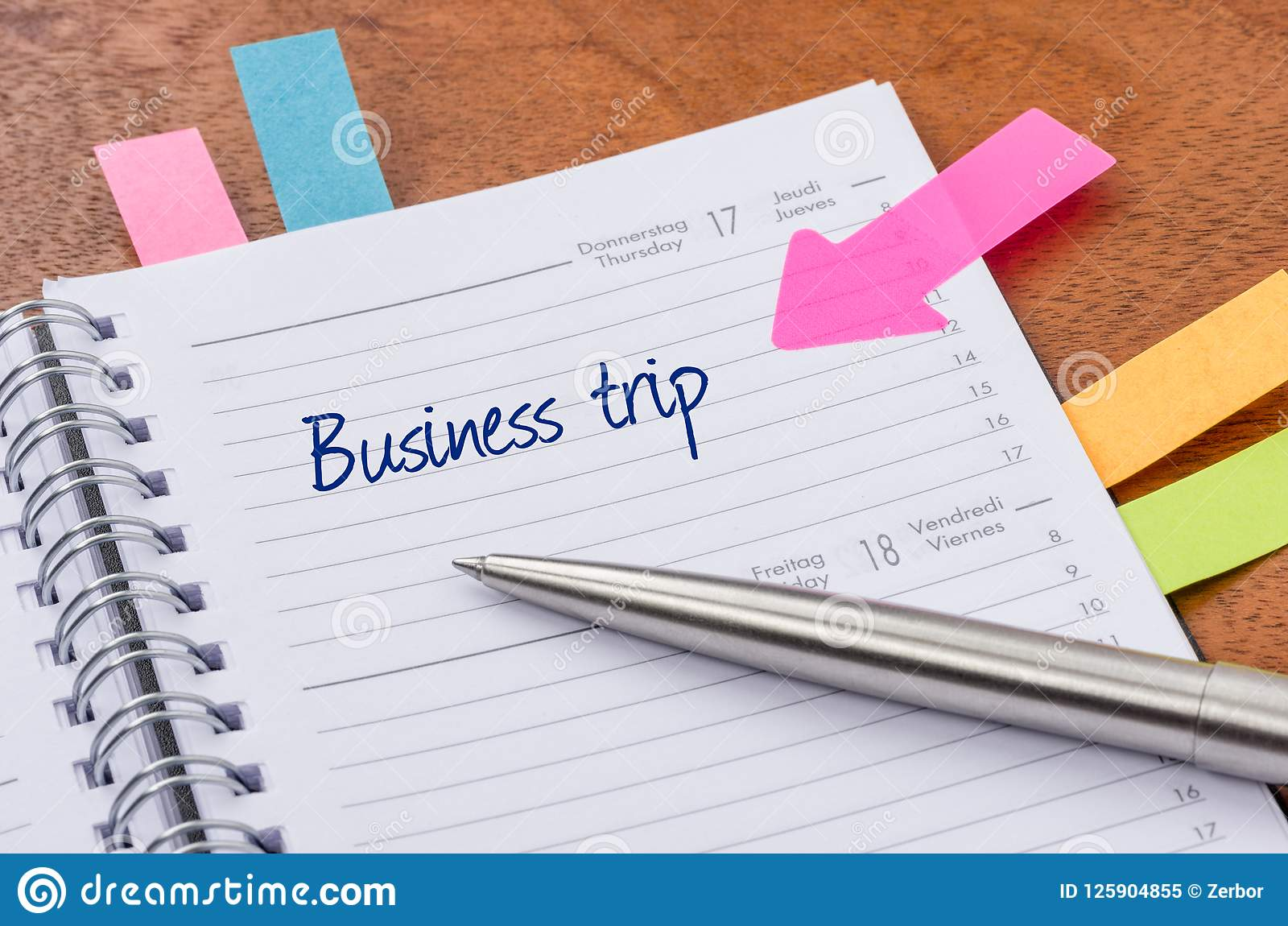 daily planner with the entry business trip stock image image of
