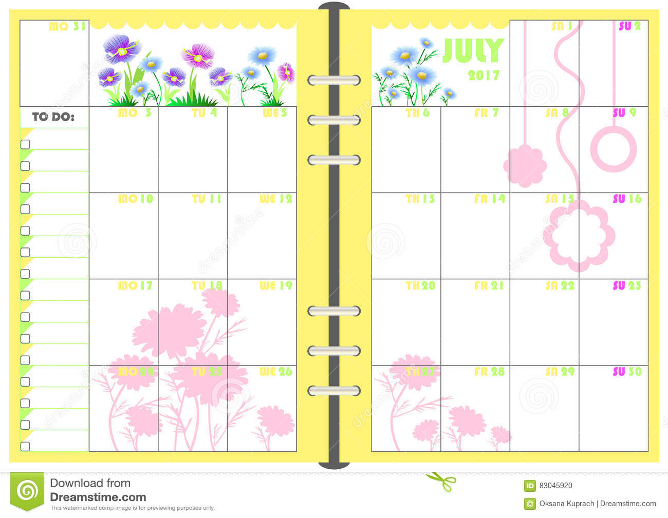 Calendar Planner Vector Free : Daily planner july stock illustration