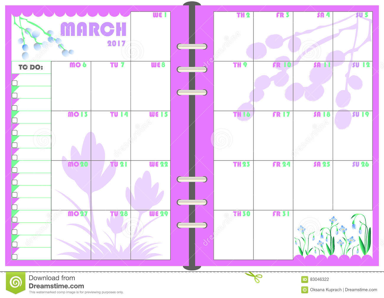 Daily Planner March 2017 Stock Vector - Image: 83046322