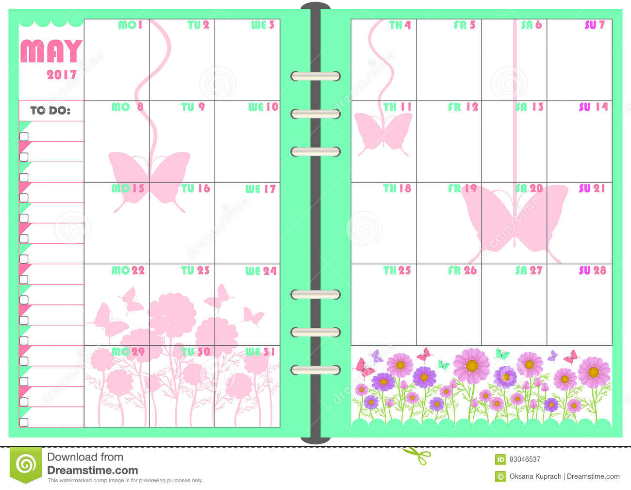 Calendar Planner Vector Free : Daily planner may stock vector image