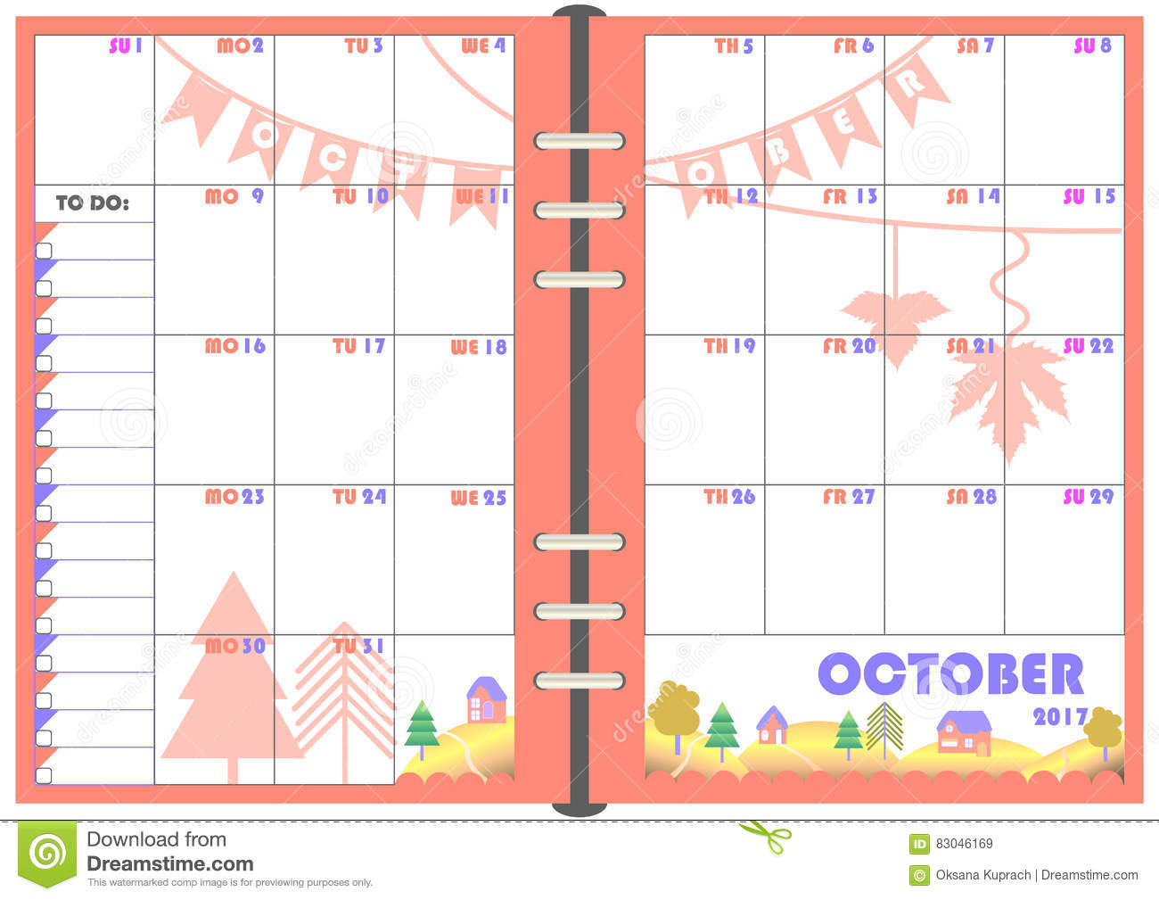 Monthly Calendar Template Vector : Daily planner october stock vector image of