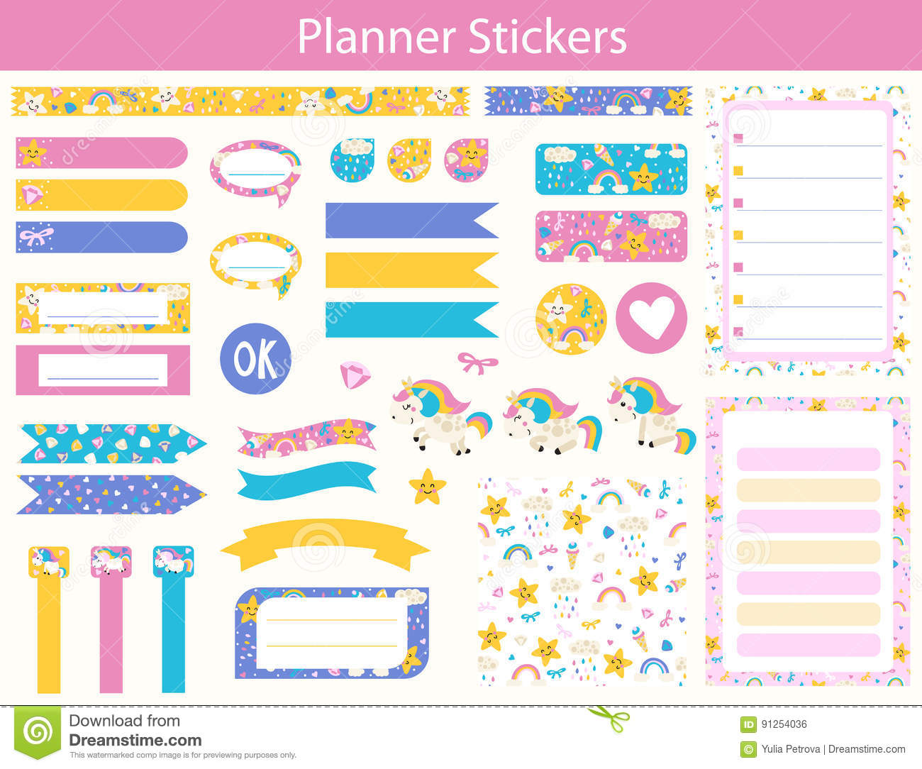 Planner stickers with cute Unicorn