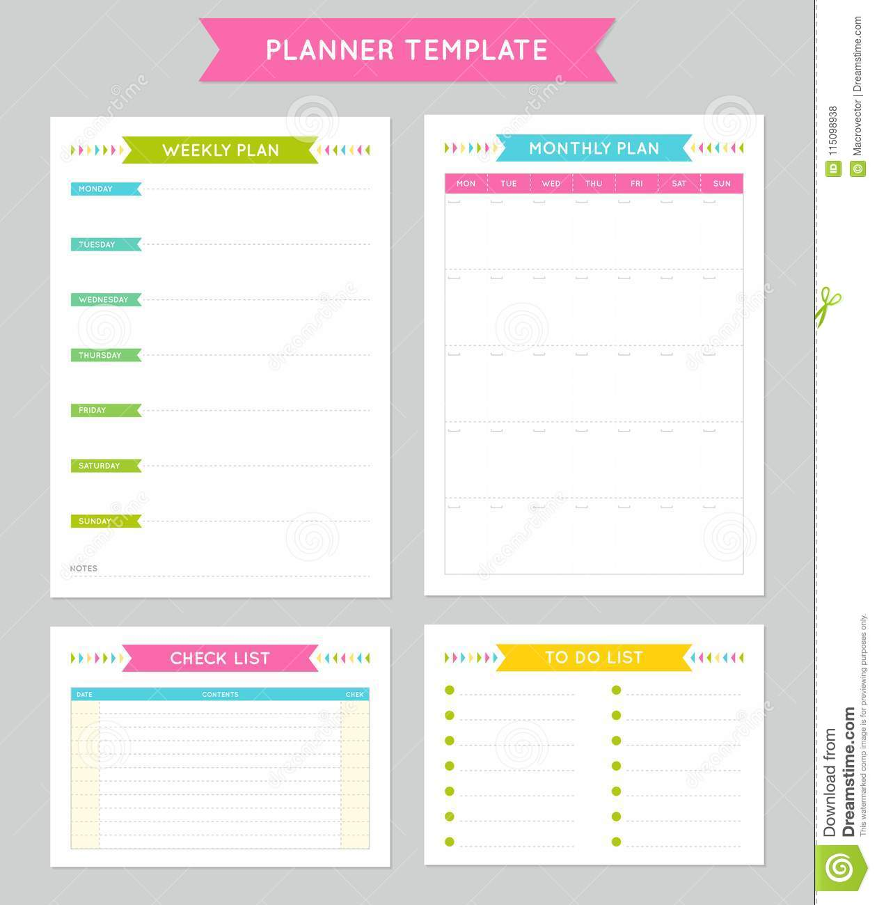download planner template for business and studying stock vector illustration of monthly routine