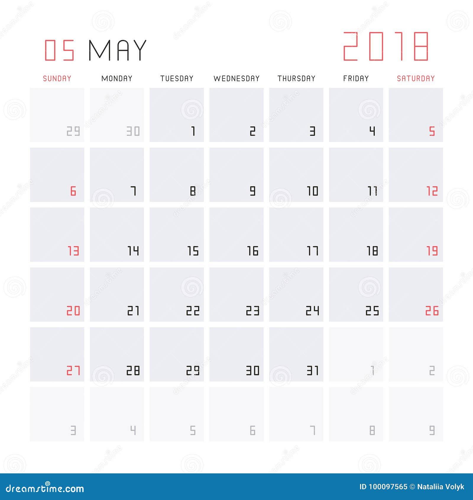calendar may 2018 stock vector illustration of paper 100097565