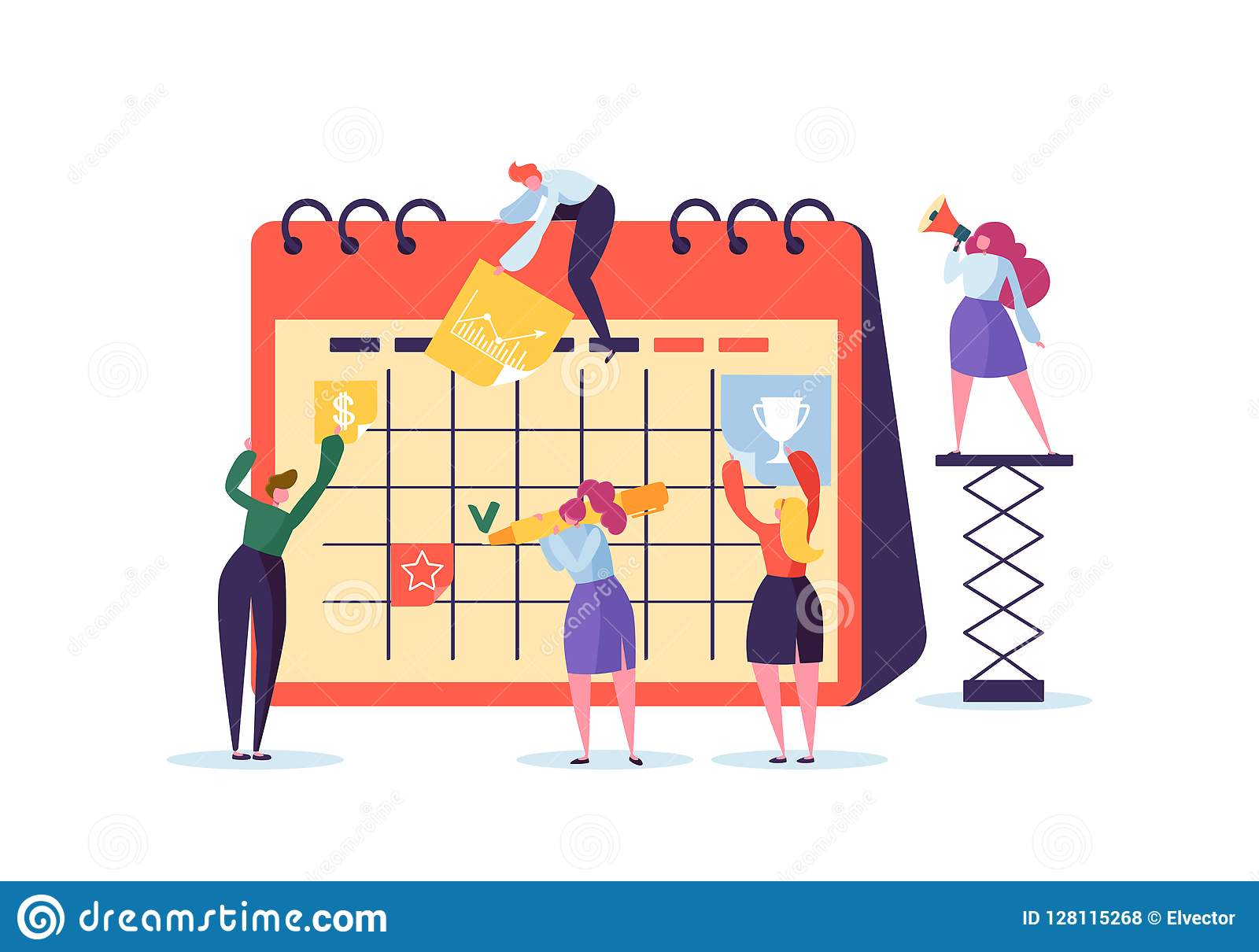 Planning Schedule Concept with Business Characters Working with Planner. Team Work Together. Flat People Teamworking