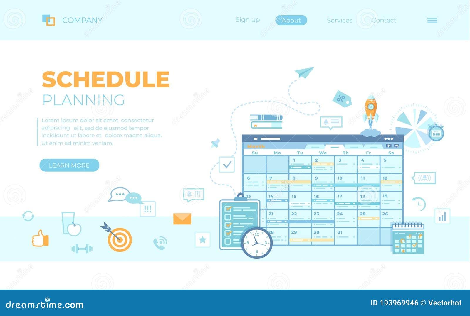 planning schedule online app web page interface planner organizer calendar project plan tasks reminders 193969946