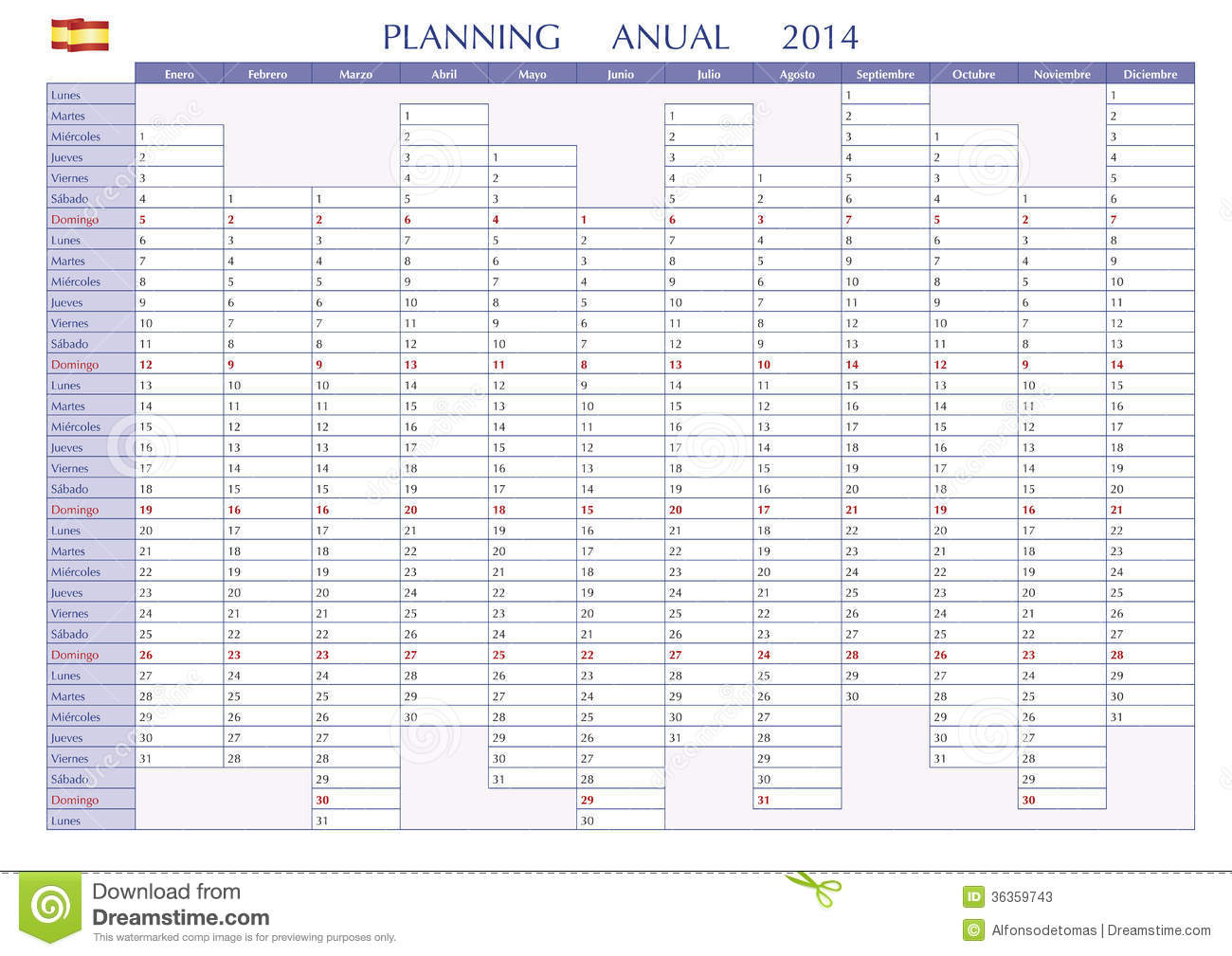 Planning 2014 spanish stock vector illustration of july for Yearly planning calendar template 2014