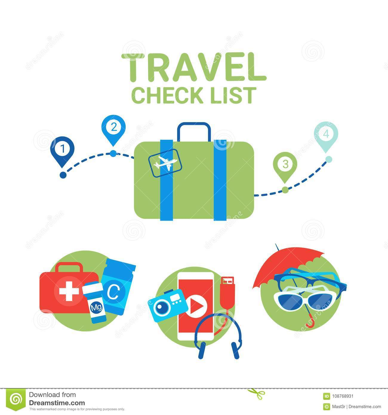 planning of vacation suitcase with packing items planning checklist
