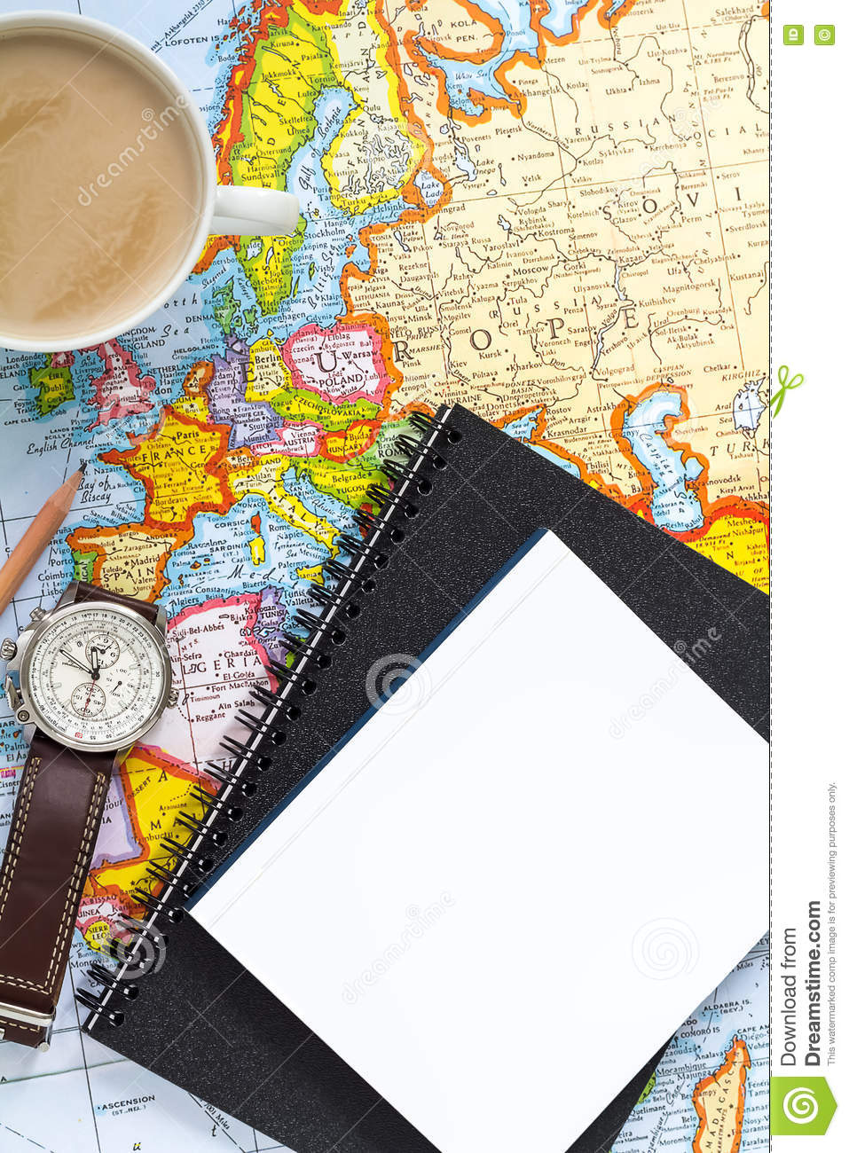 Planning Vacation Trip With Map Top View Pointing To Europe – Travel Planning Map