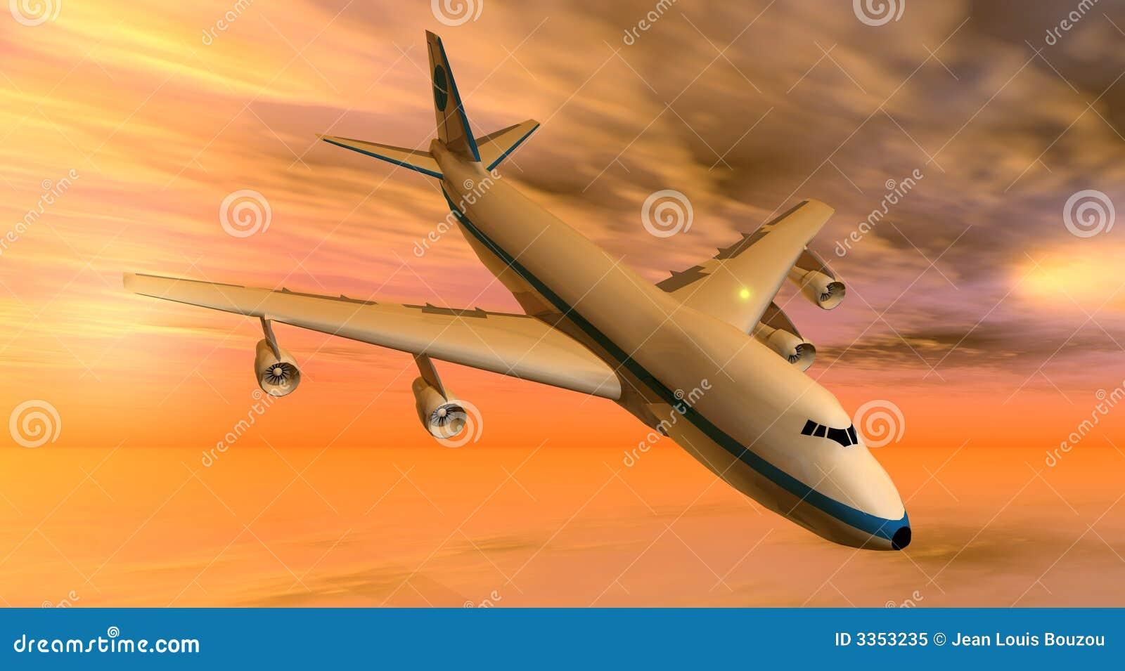 Plano 747 no por do sol