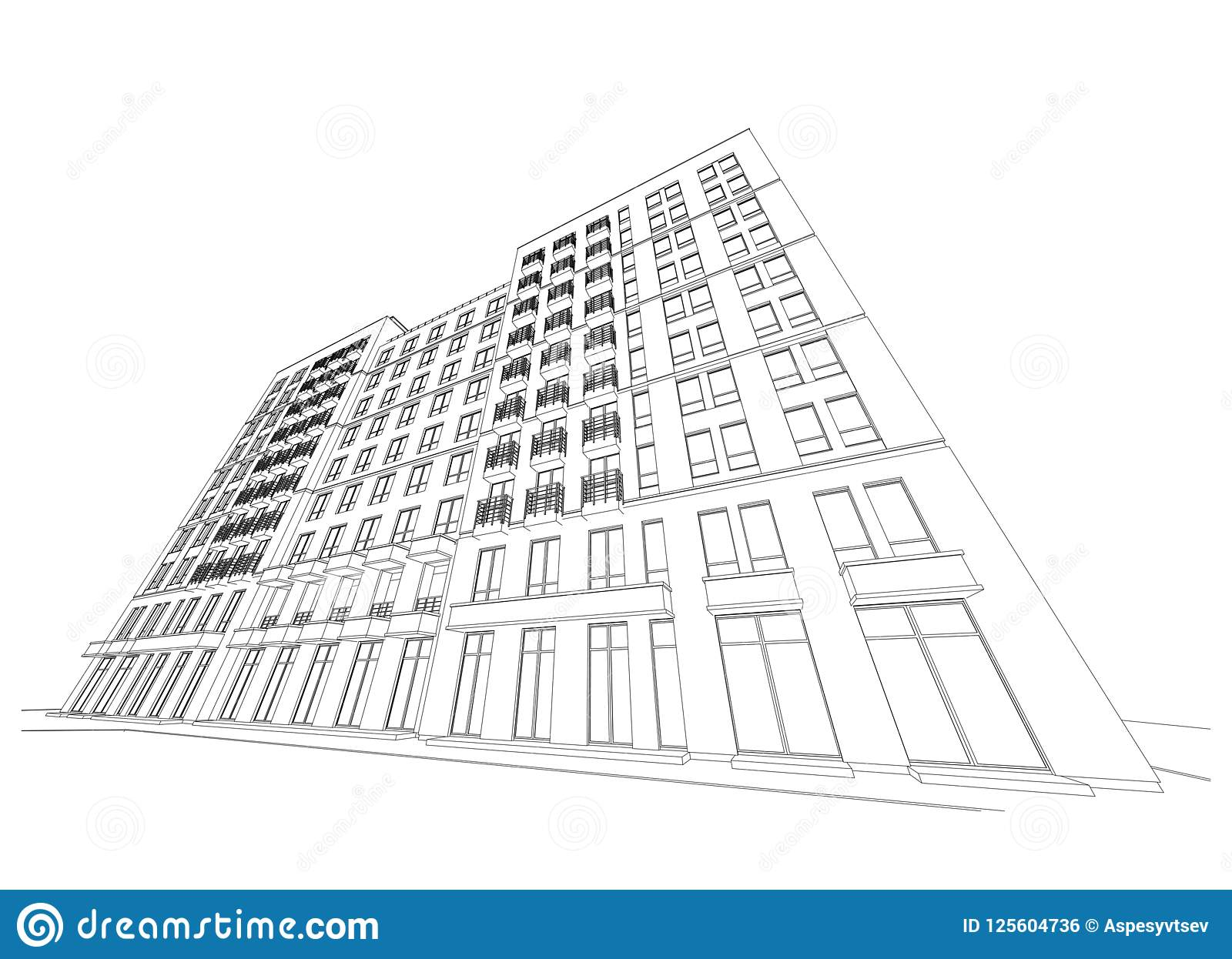 Plano arquitetónico detalhado da construção de vários andares com perspectiva de diminuição Ilustração do vetor
