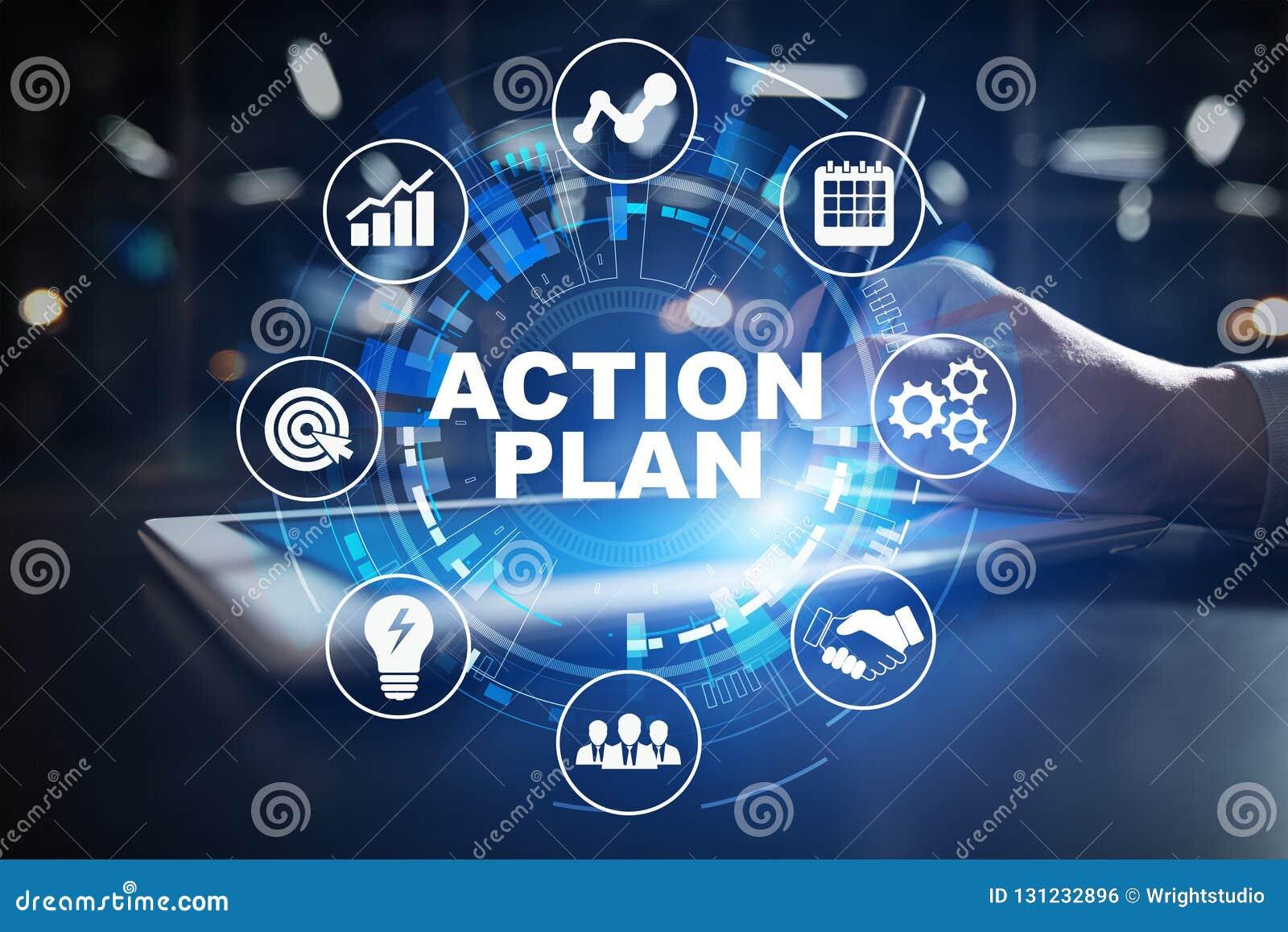 Plano de ação, estratégia empresarial, conceito da gestão de tempo na tela virtual