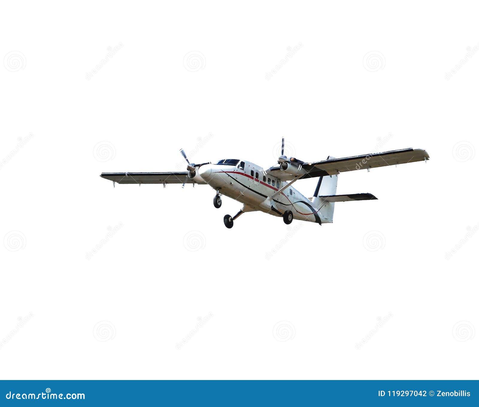 Plano de hélice pequeno de voo do passageiro isolado no fundo branco Aviões no vôo