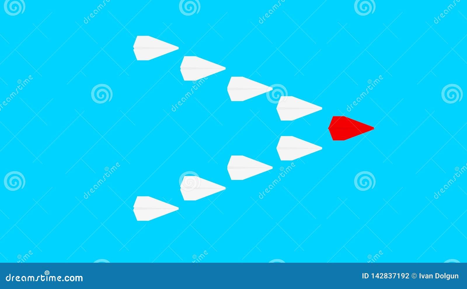 Plano de papel vermelho e muitos planos do Livro Branco no fundo do azul de turquesa Conceito da liderança, dos trabalhos de equi