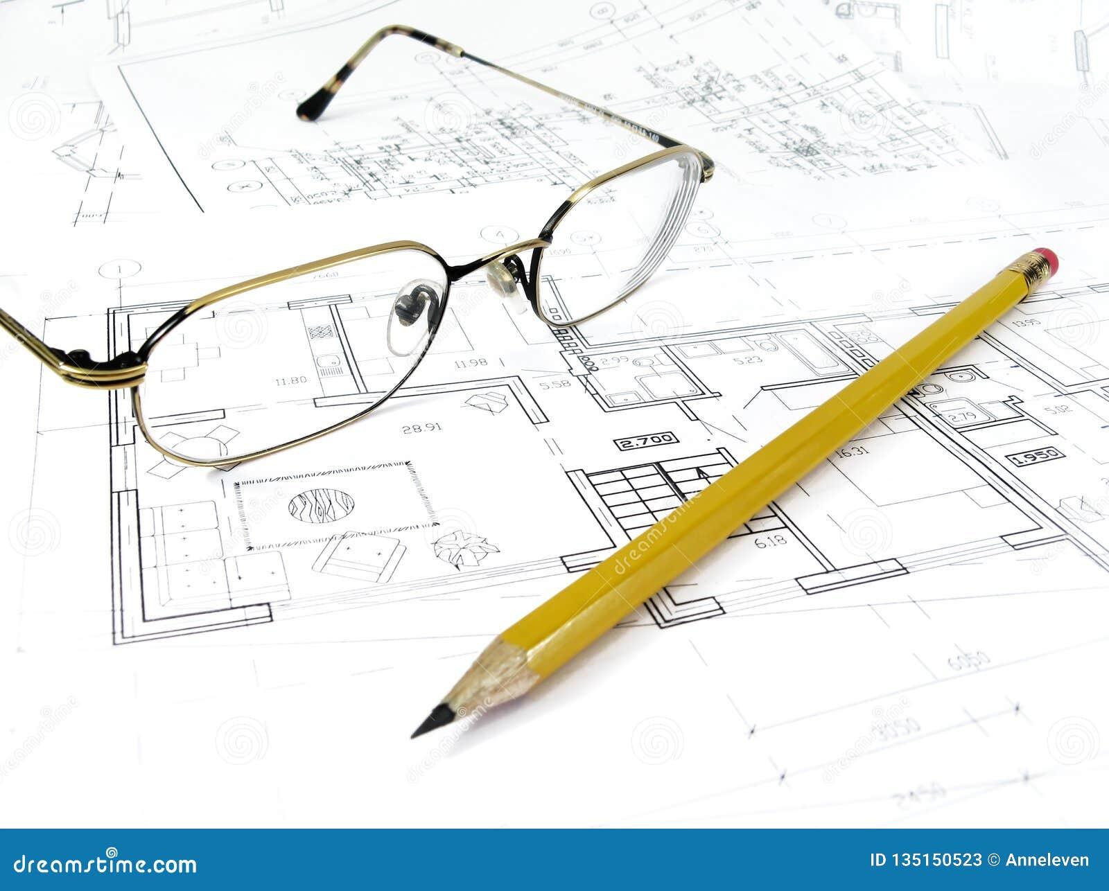 Plano de tiragem arquitetónico do projeto da casa - conceito denominado da arquitetura, da engenharia e dos bens imobiliários