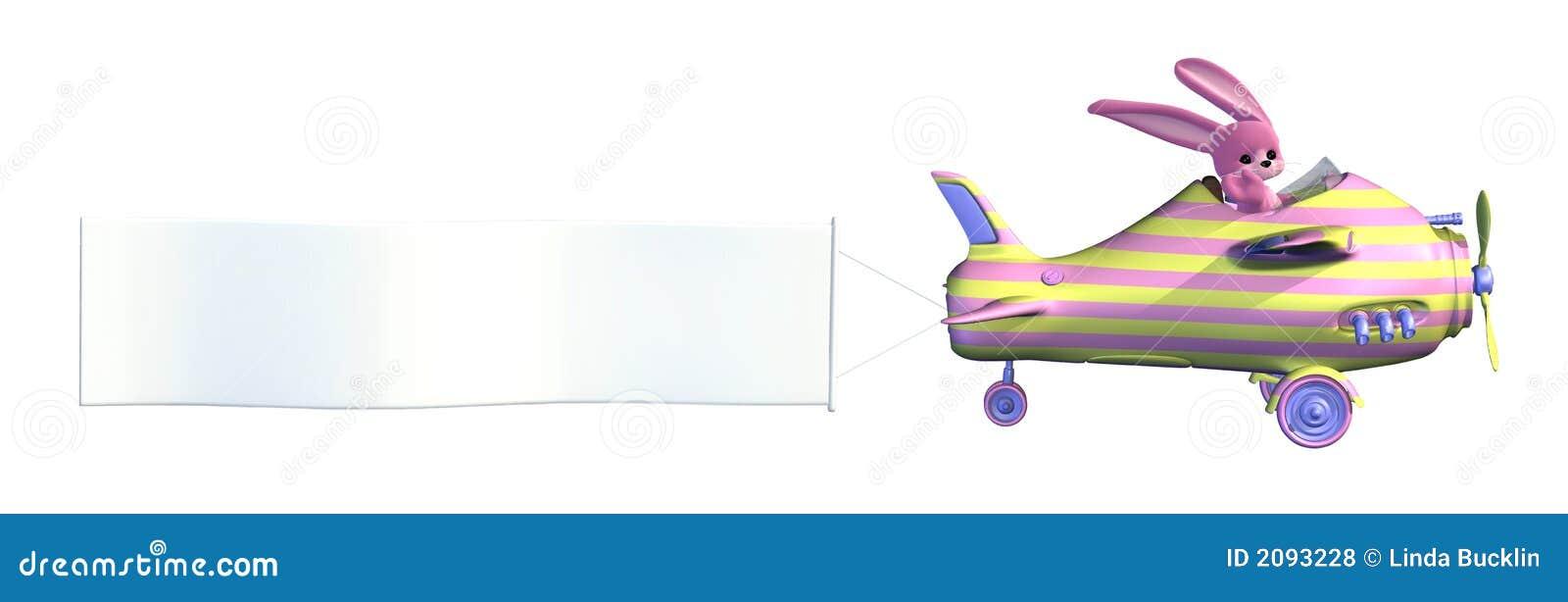 Plano del conejito de pascua con la bandera en blanco