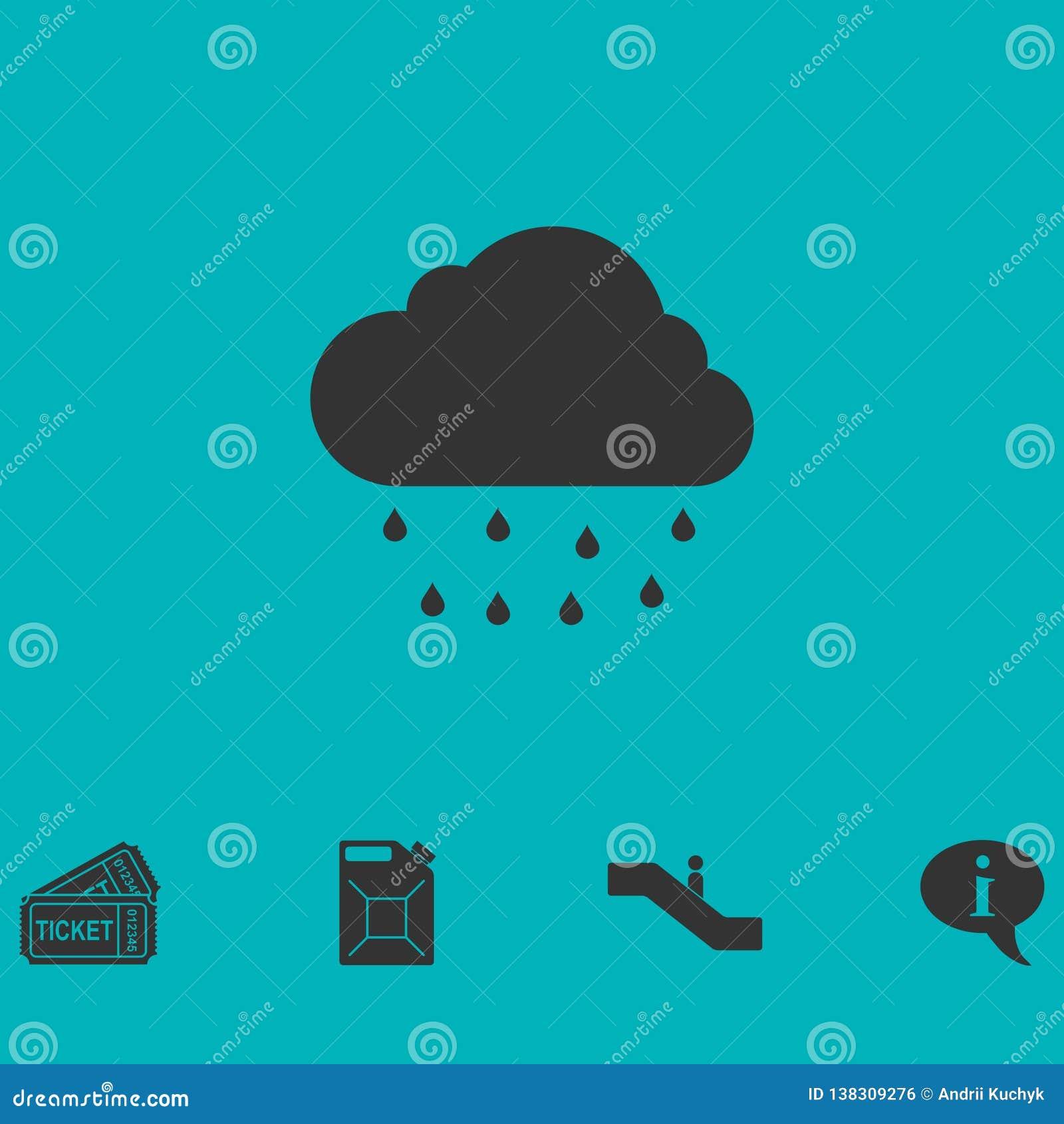 Plano del icono de la lluvia