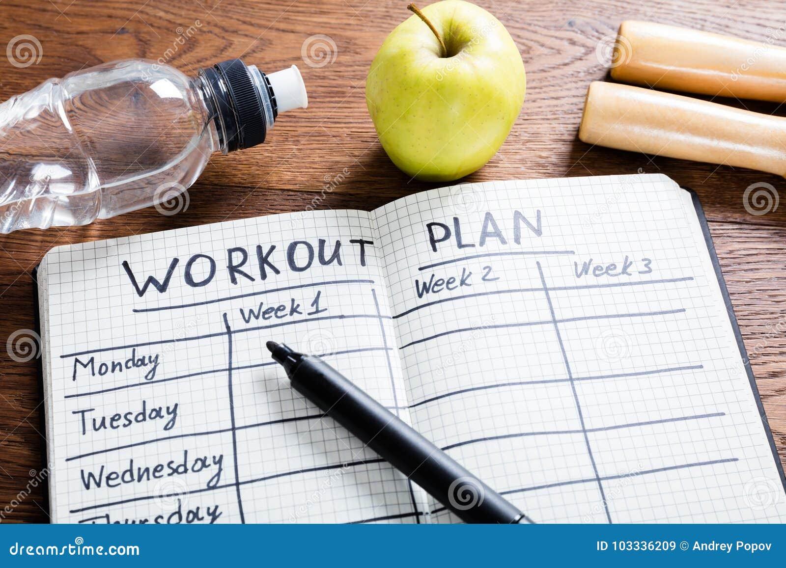 Plano do exercício no caderno