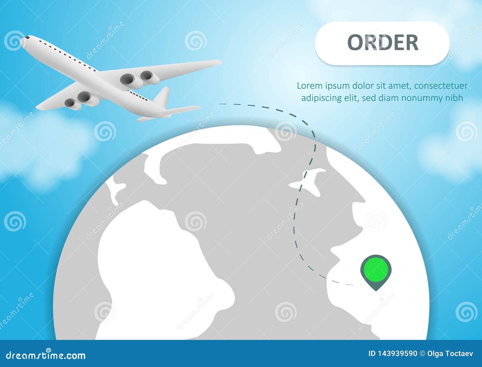 Plano e globo Voo dos avi?es em torno do planeta da terra com continentes e oceanos Ilustra??o do vetor Migrar o plano, curso do
