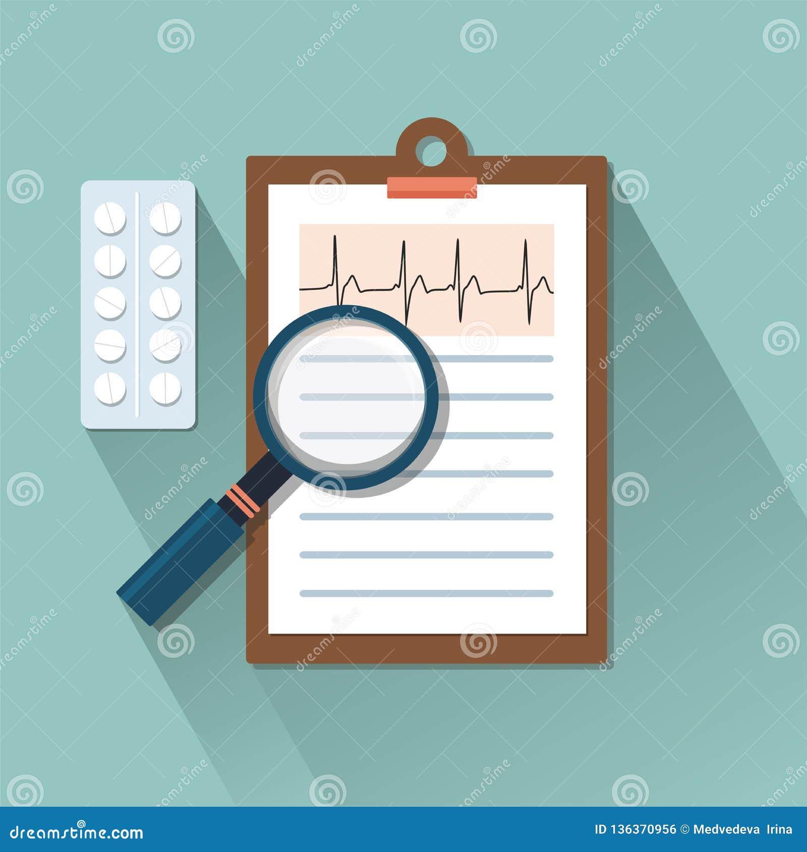 Plano-tabela com comprimidos e lente de aumento Conceito da medicina
