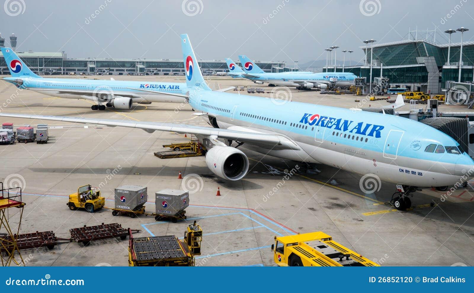 Planos de aire coreanos en el aeropuerto de Incheon