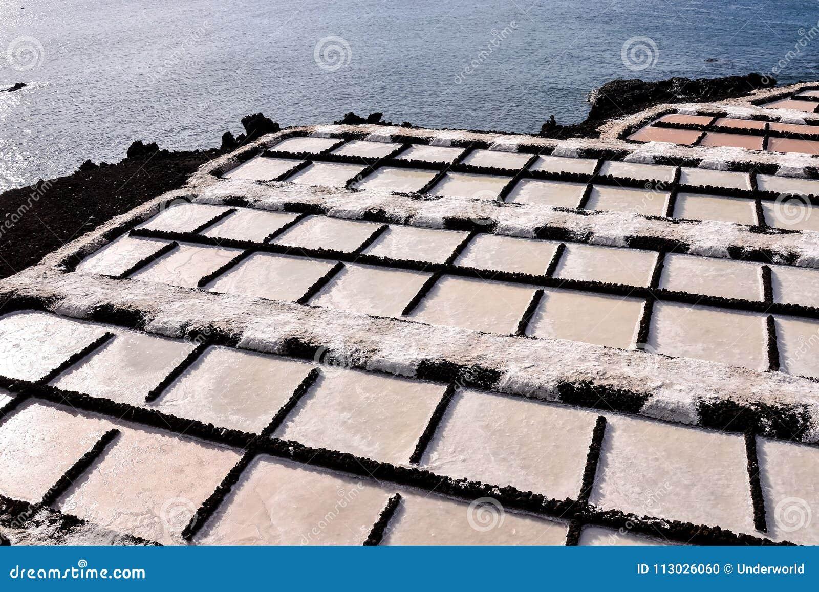 Planos de la sal en las islas de Canry