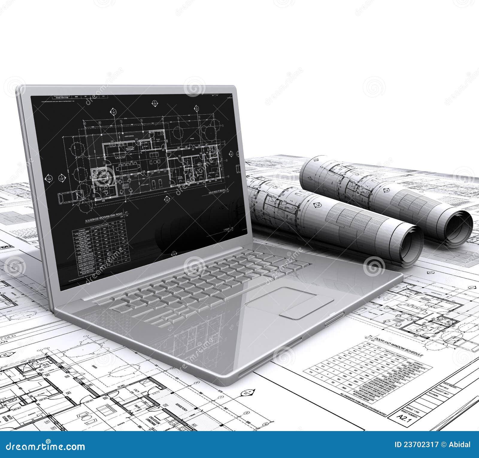 Plans architecturaux d 39 ordinateur portatif photographie for Acheter des plans architecturaux