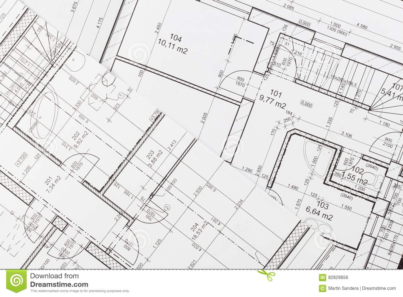 Plans of building architectural project floor plan designed building on the drawing