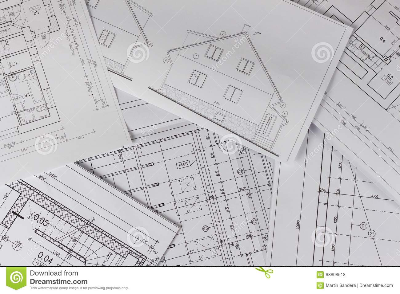 Plans Of Building Architectural Project Floor Plan Designed Building On The Drawing Engineering And Technical Drawing Part Of Stock Photo Image Of Engineer Building 98808518