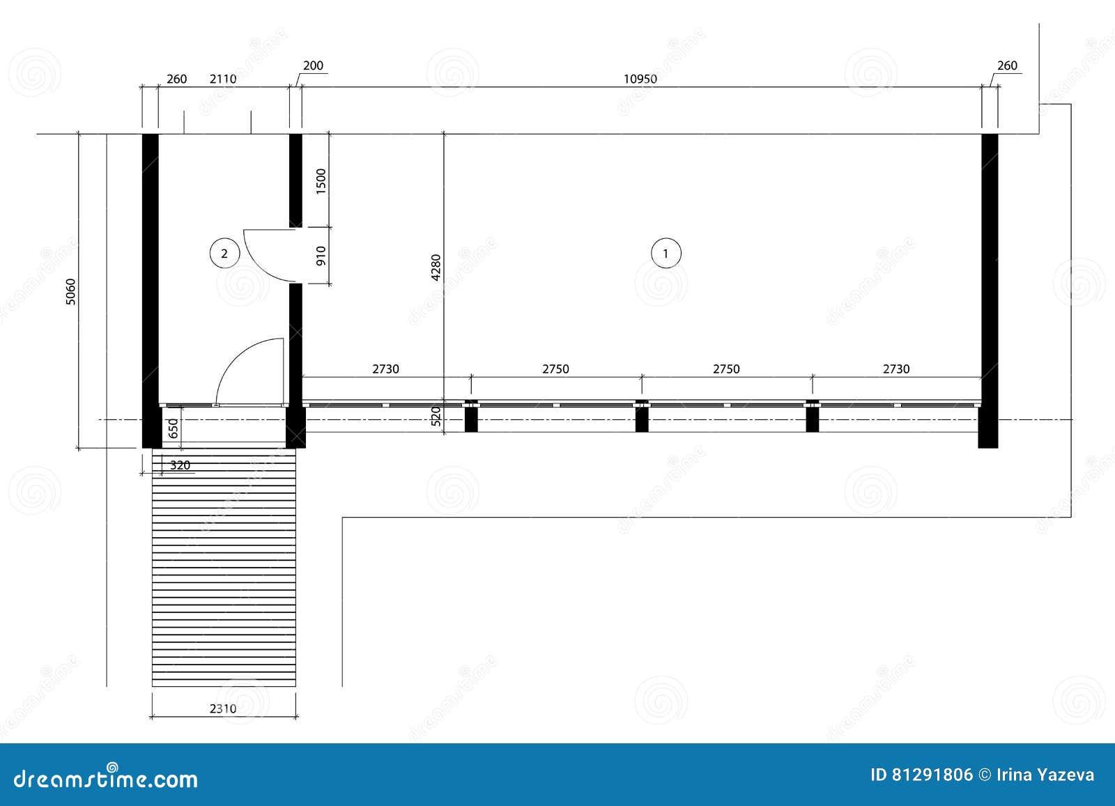 Plans d étage vides de calibre de bureau standard illustration de vecteur
