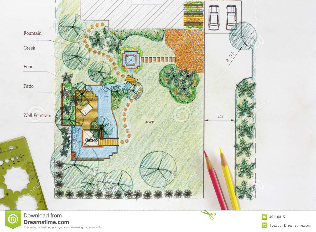 Plans de jardin de l 39 eau de conception d 39 architecte paysagiste photo stock image 49110315 for Amenager son jardin paysagiste