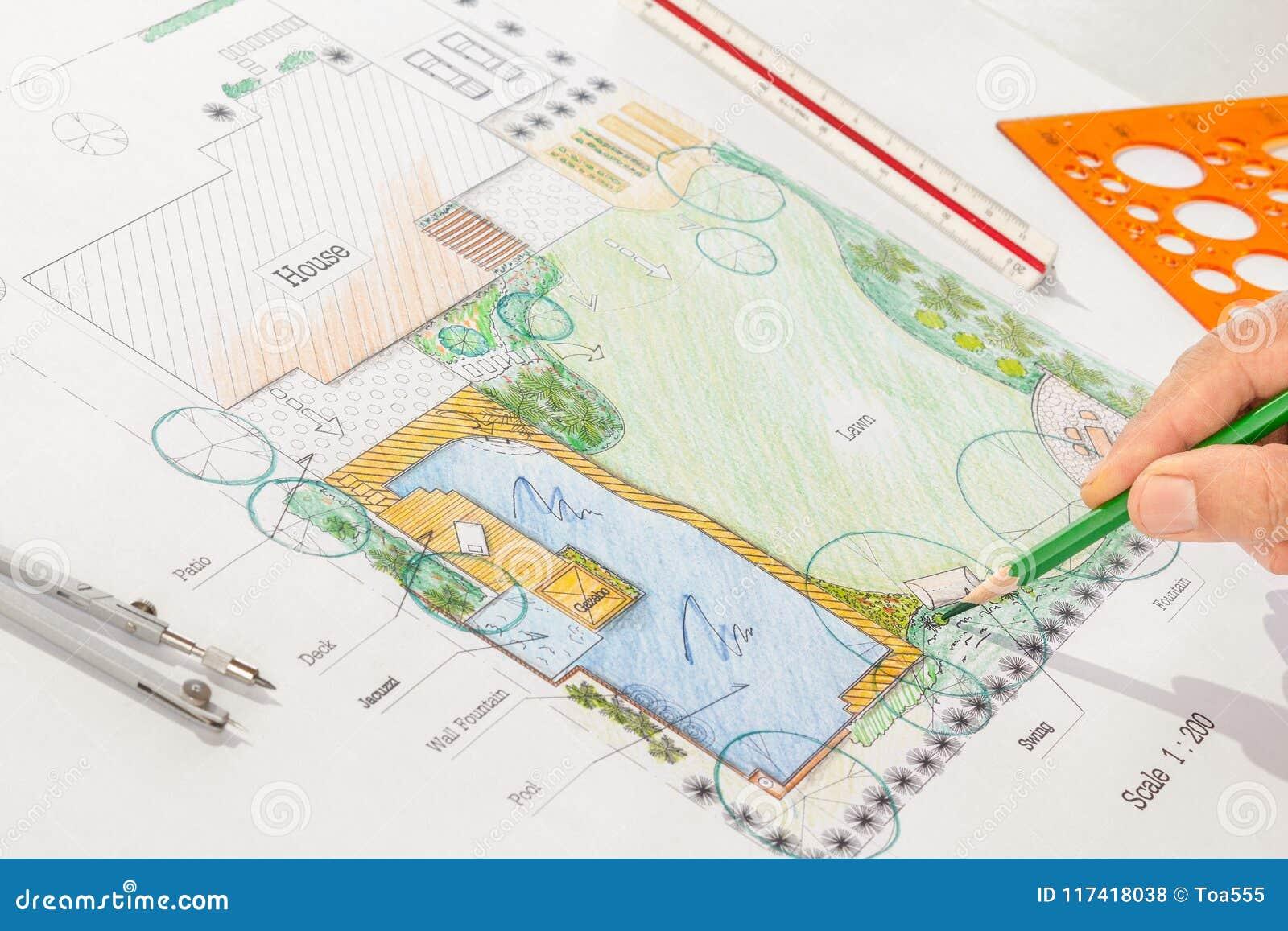 Plans De Jardin De L Eau De Conception D Architecte Paysagiste Photo