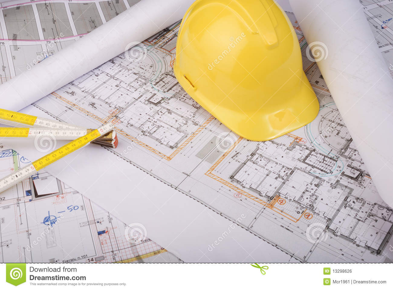 Plans Rools And Helmet 3 Royalty Free Stock Image Image
