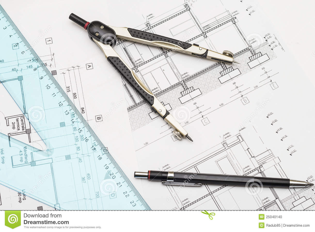 Architect tools and plans royalty free stock photography for Architecture drawing tools