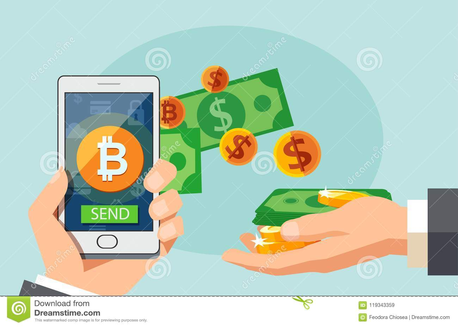 Plant begrepp för modern design av cryptocurrencyteknologi, bitcoinutbyte, mobil bankrörelse Hållande smartphone för hand med bit