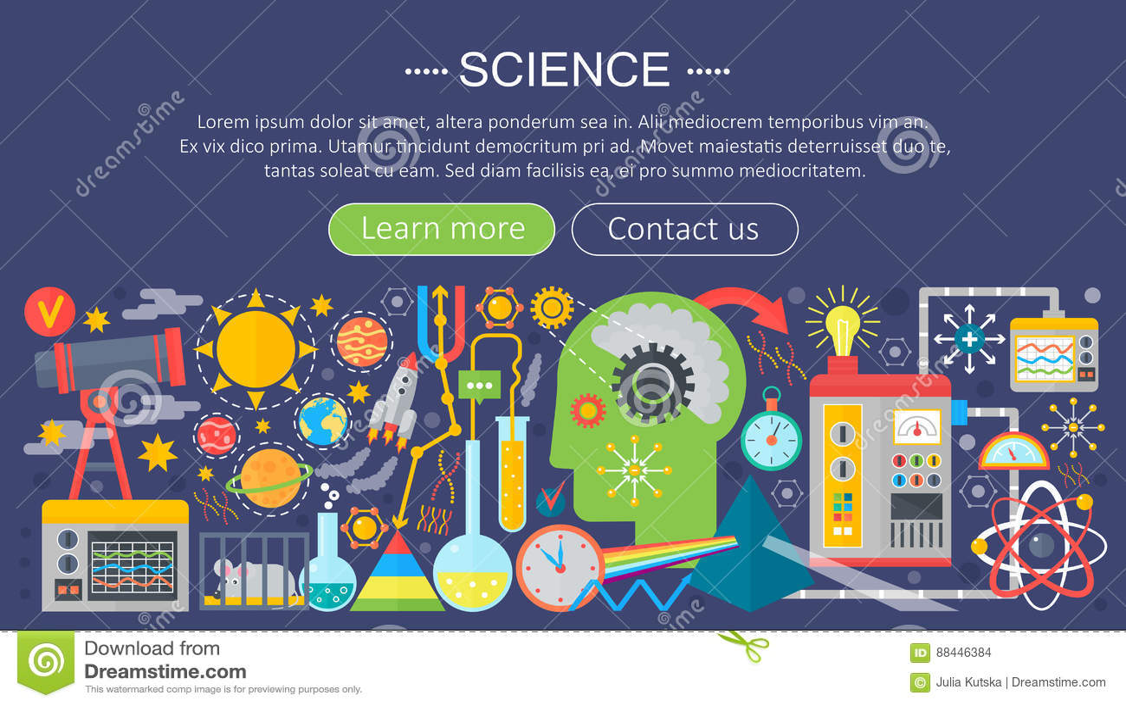 Plant designbegrepp av vetenskap Horisontalbaner med forskarearbetsplatser Experimentinfographics för vetenskaplig forskning