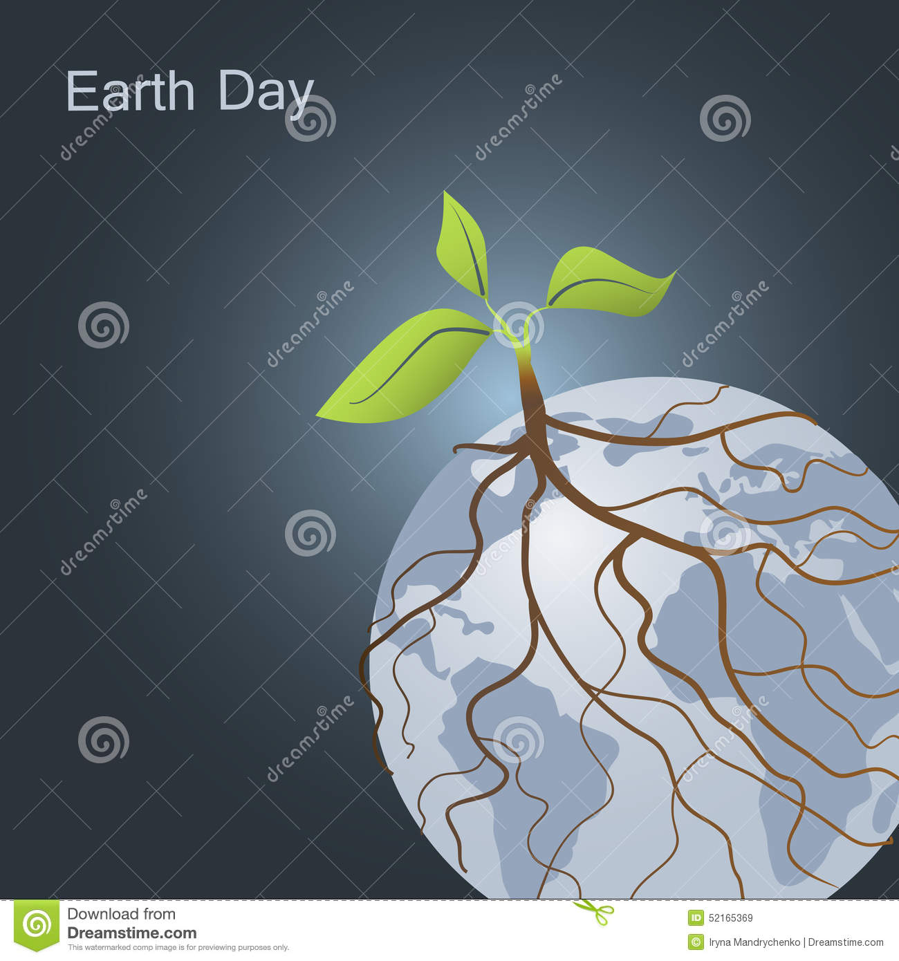 Plant on Earth and its roots around planet. Earth Day and Go green concept