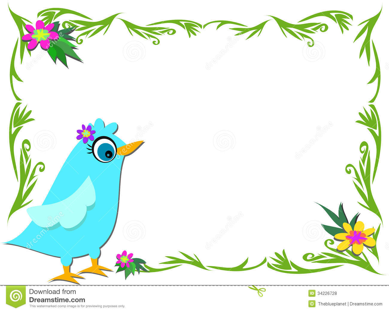 Plant And Flower Frame With Blue Bird Royalty Free Stock Photos ...