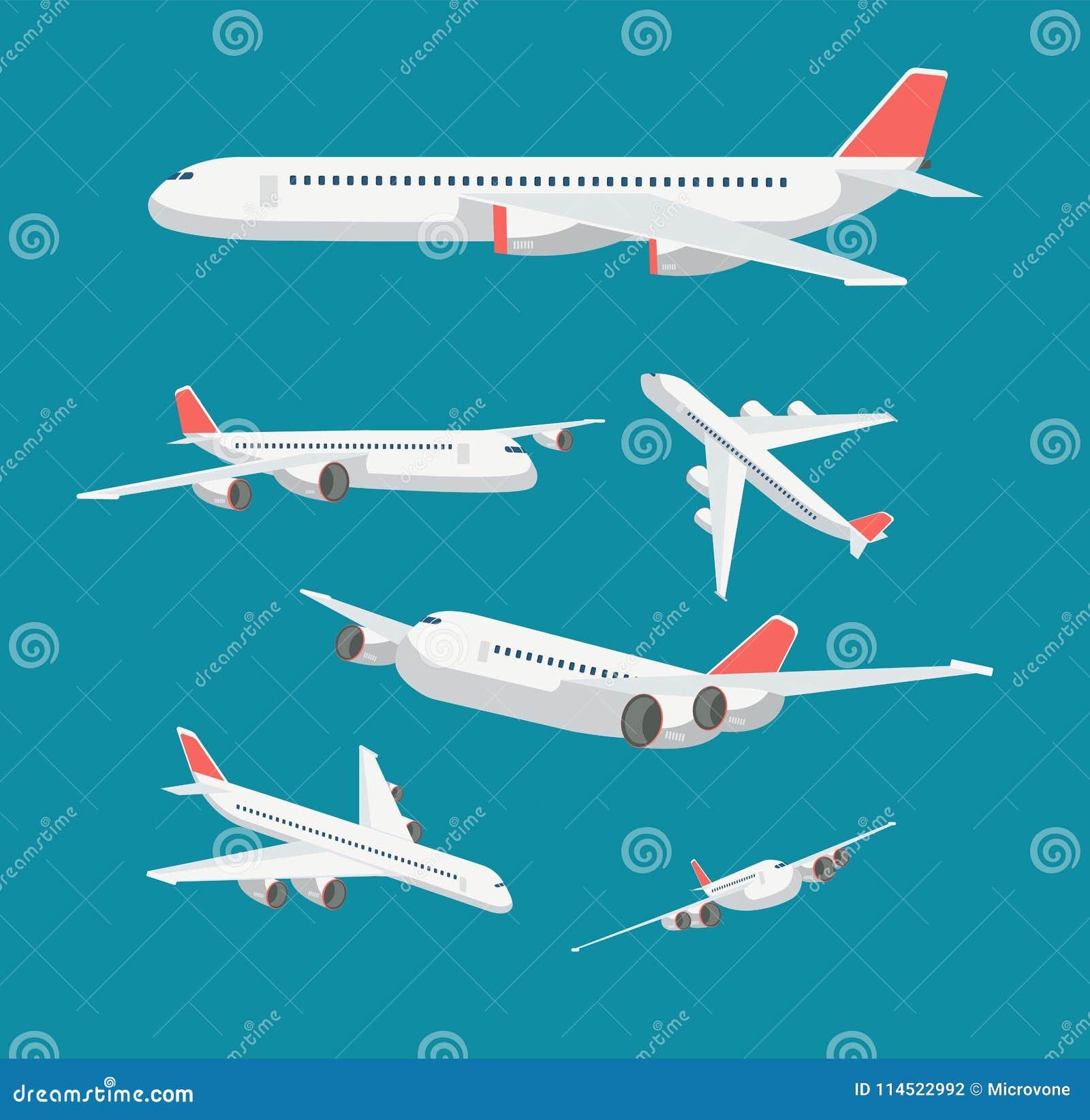 Plant flygplan för charter i olik punkt av sikten För resa- och flygvektor för borgerligt flygplan isolerade symboler